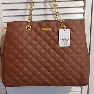 Joy & Iman quilted leather Satchel tote